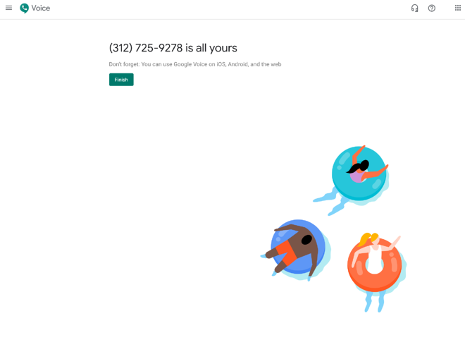 finish signing up for a google voice number