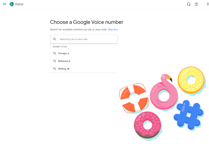 enter area code to choose a google voice number