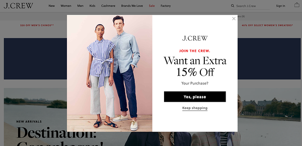 jcrew splash page example